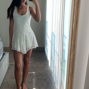 Mesh Ivory Dress with Lace Design